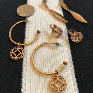 Three pair Fossil Brand rose gold earrings